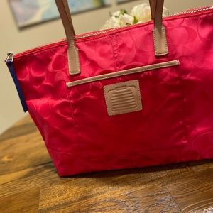 Coach Pink Legacy Signature Nylon Tote